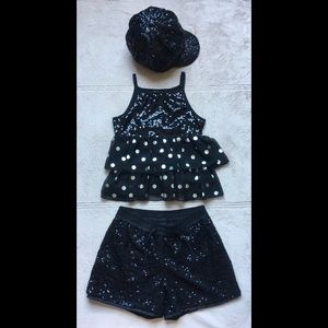 GAP KIDS & JUSTICE Sequins Shorts Top & Hat Sz 10